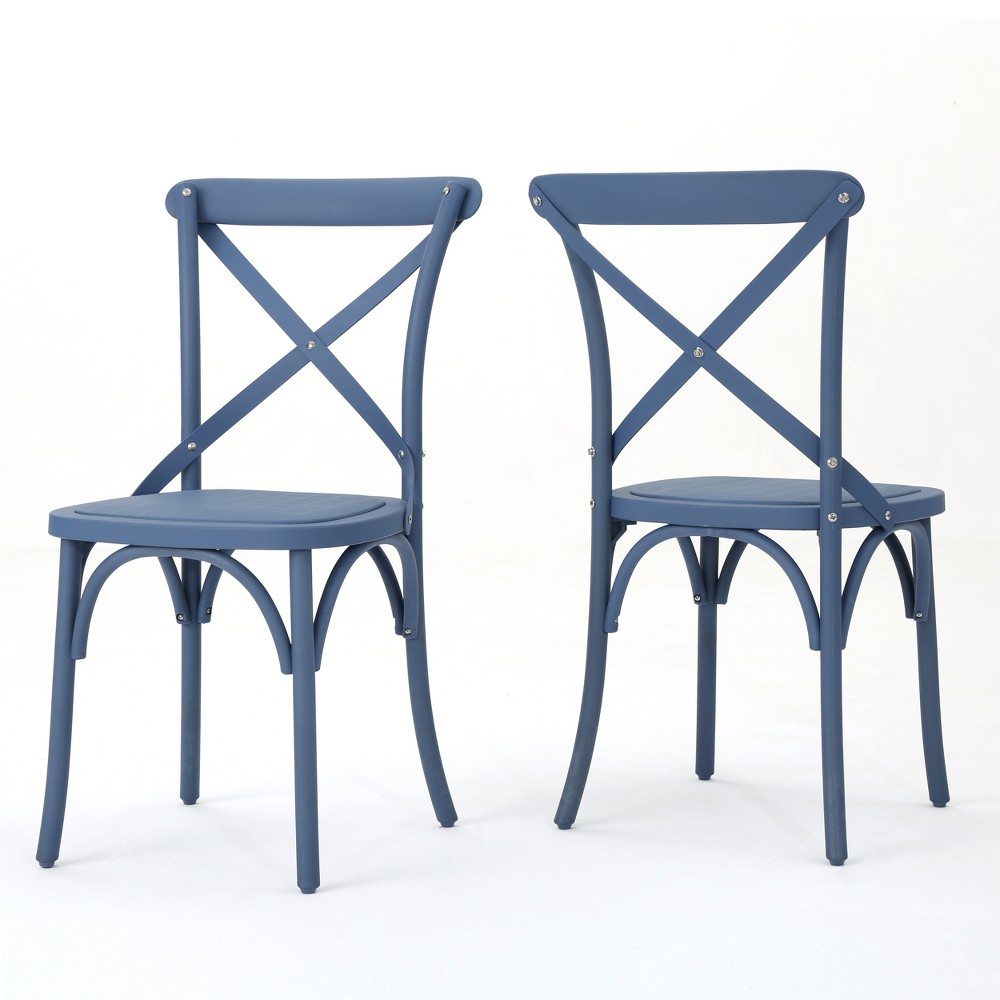 Danish 2pk Plastic Nylon Dining Chairs - Norway Blue - Christopher Knight Home