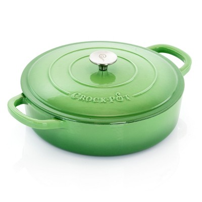 Crock Pot Artisan 5 Quart Round Enameled Cast Iron Braiser Pan with Self Basting Lid