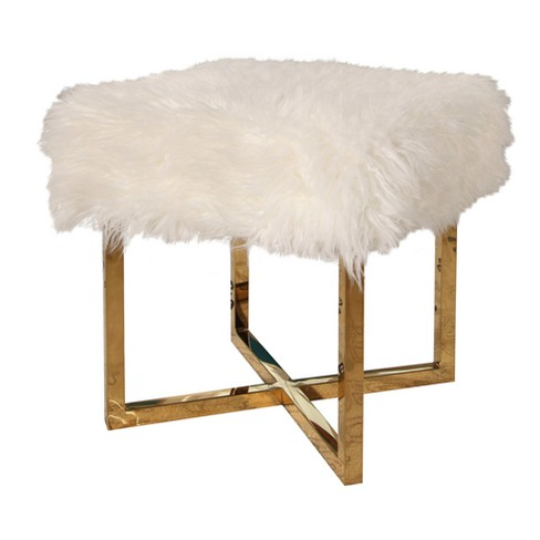 Yvette Stainless Steel Faux Fur Stool - White - Abbyson - image 1 of 5