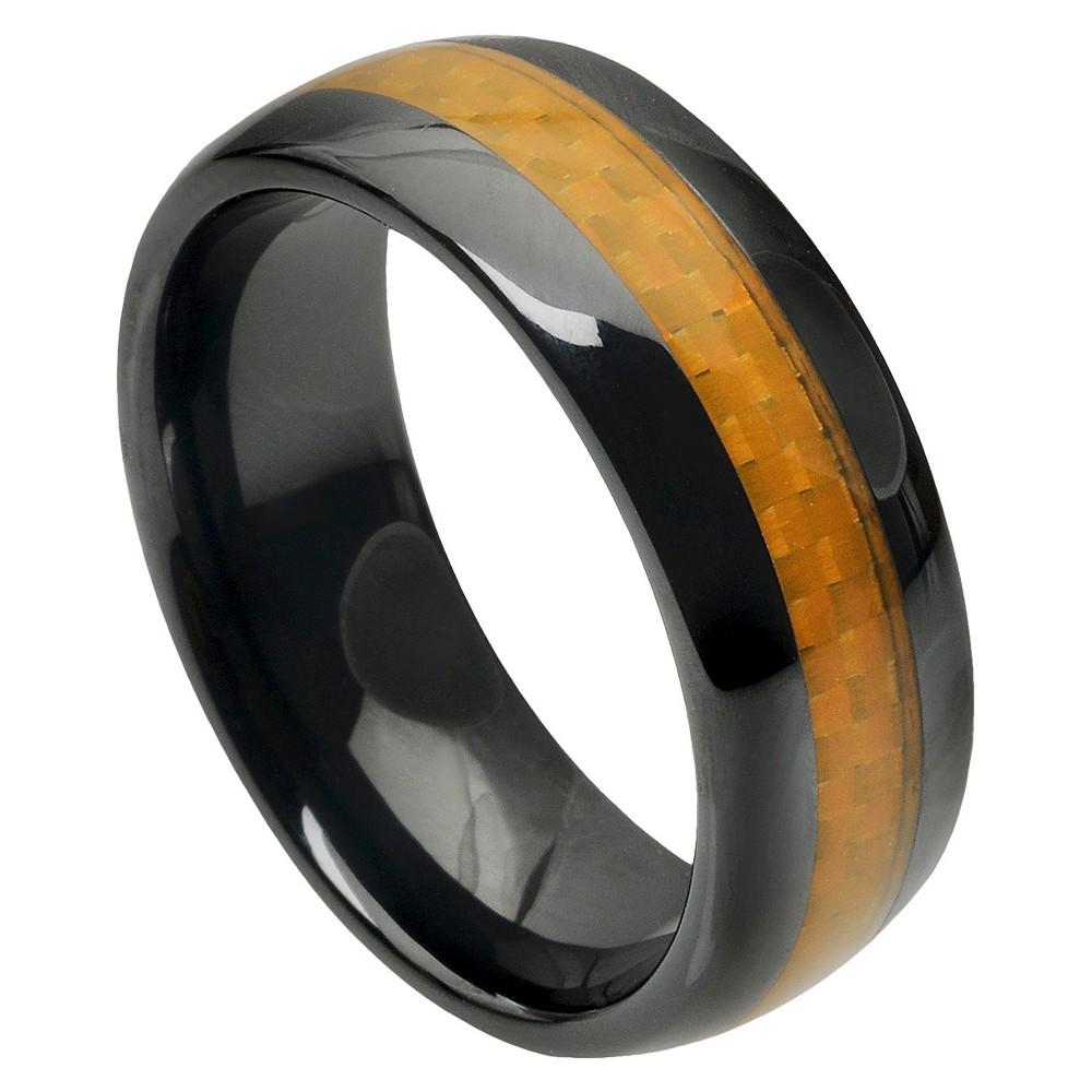 Men's Daxx Ceramic Band with Carbon Fiber Inlay - Black/Cognac (12) (8mm)