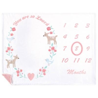 Hudson Baby Unisex Baby Plush Holiday and Milestone Blanket - Girl Woodland One Size