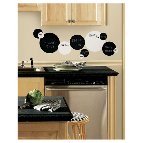 RoomMates Black and White Chalkboard Dots Peel & Stick Wall Decals - image 1 of 2