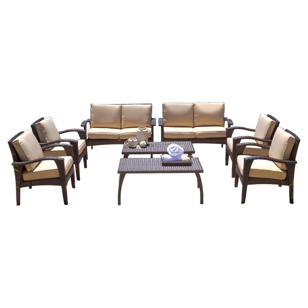 Waikiki 8pc Wicker Patio Seating Set & Cushions - Brown - Christopher Knight Home