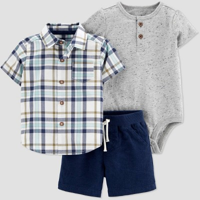 Baby Boys' 3pc Plaid Top & Bottom Set - Just One You® made by carter's Blue/Gray 9M