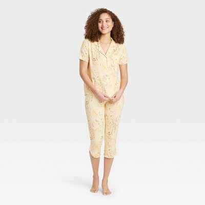Women's Paisley Print Beautifully Soft Short Sleeve Notch Collar Top and Cropped Pants Pajama Set - Stars Above™ Yellow