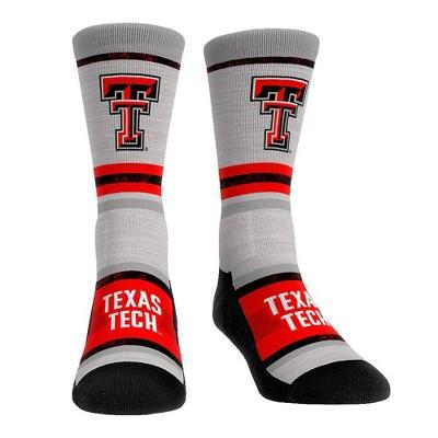 NCAA Texas Tech Red Raiders Adult Cool Gray Block Crew Socks - L/XL