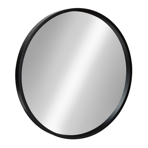 """22"""" x 22"""" Travis Round Wood Accent Wall Mirror Black - Kate and Laurel - image 1 of 4"""