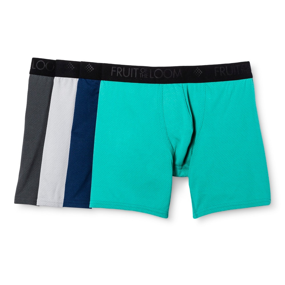 Fruit of the Loom Men's 4pk Breathable Micro-Mesh Boxer Briefs - Turquoise/GrayXL, Size: XL, Multi-Colored