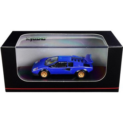 Lamborghini Countach LP500S Blue with Gold Stripes 1/64 Diecast Model Car by Kyosho