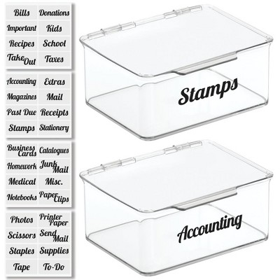 mDesign Plastic Stackable Home, Office Storage Box, 2 Pack + 32 Labels