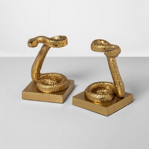 "7.6"" x 5.6"" 2pc Brass Snake Bookend Set Gold - Opalhouse™ - image 1 of 1"