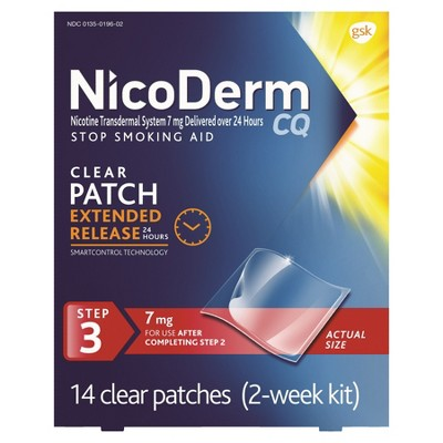 NicoDerm CQ Stop Smoking Aid Clear Patches Step 3 - 14ct