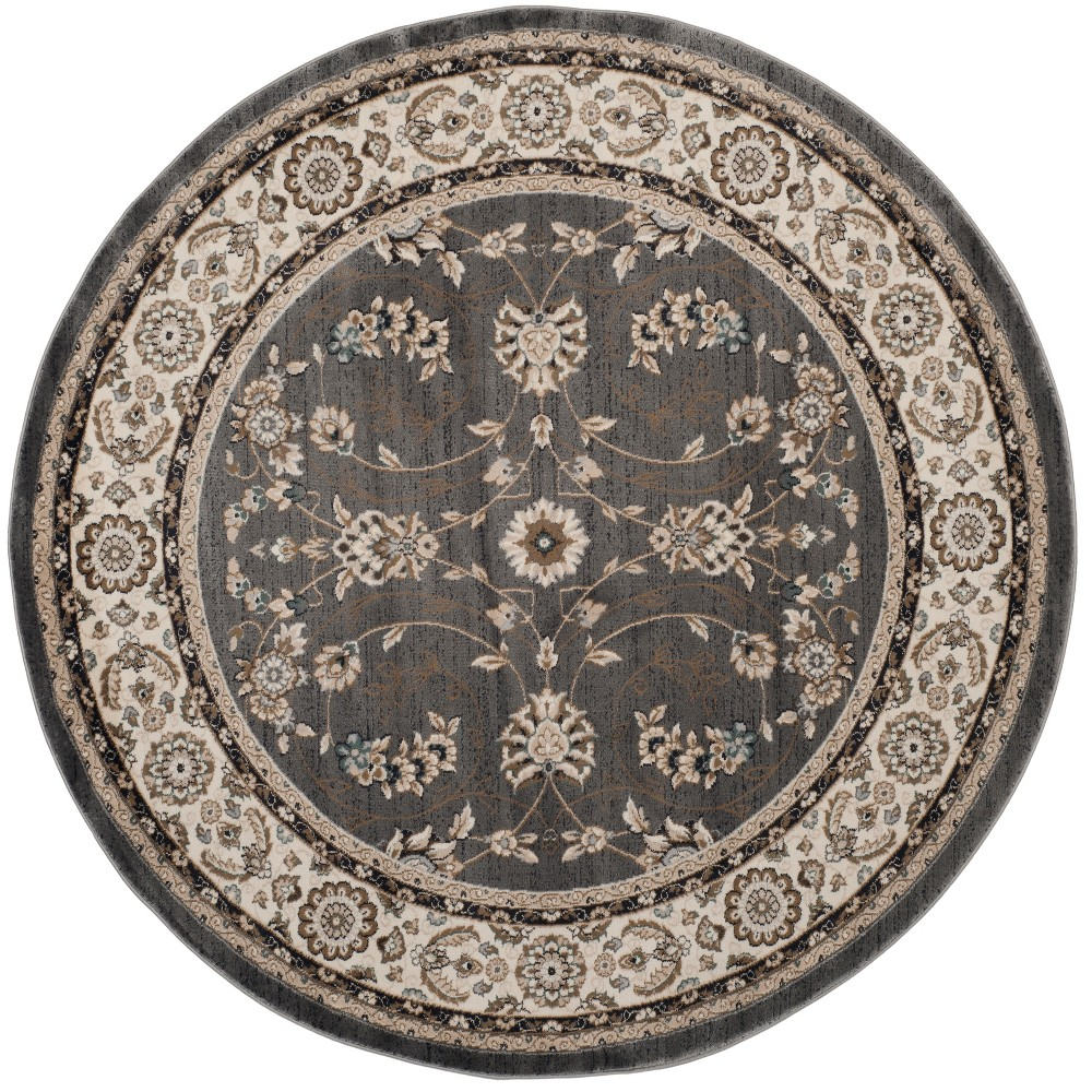 7' Floral Loomed Round Area Rug Gray/Cream (Gray/Ivory) - Safavieh