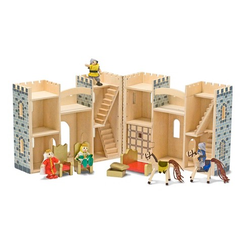 Melissa Doug Fold And Go Wooden Castle Dollhouse With Wooden Dolls And Horses 12pc