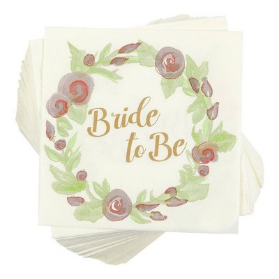 """Blue Panda 100 Pack Bride to Be Floral Disposable Paper Napkin 5""""x5"""" Party Supplies Bridal Shower, Pink Green"""