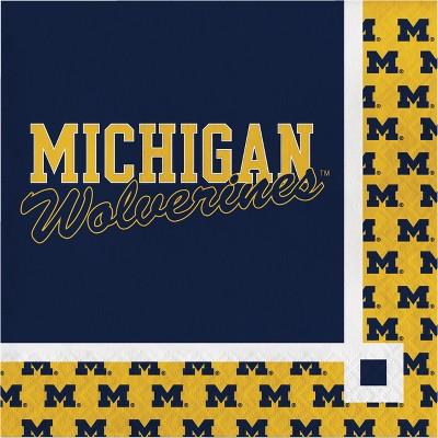 20ct Michigan Wolverines Beverage Napkins