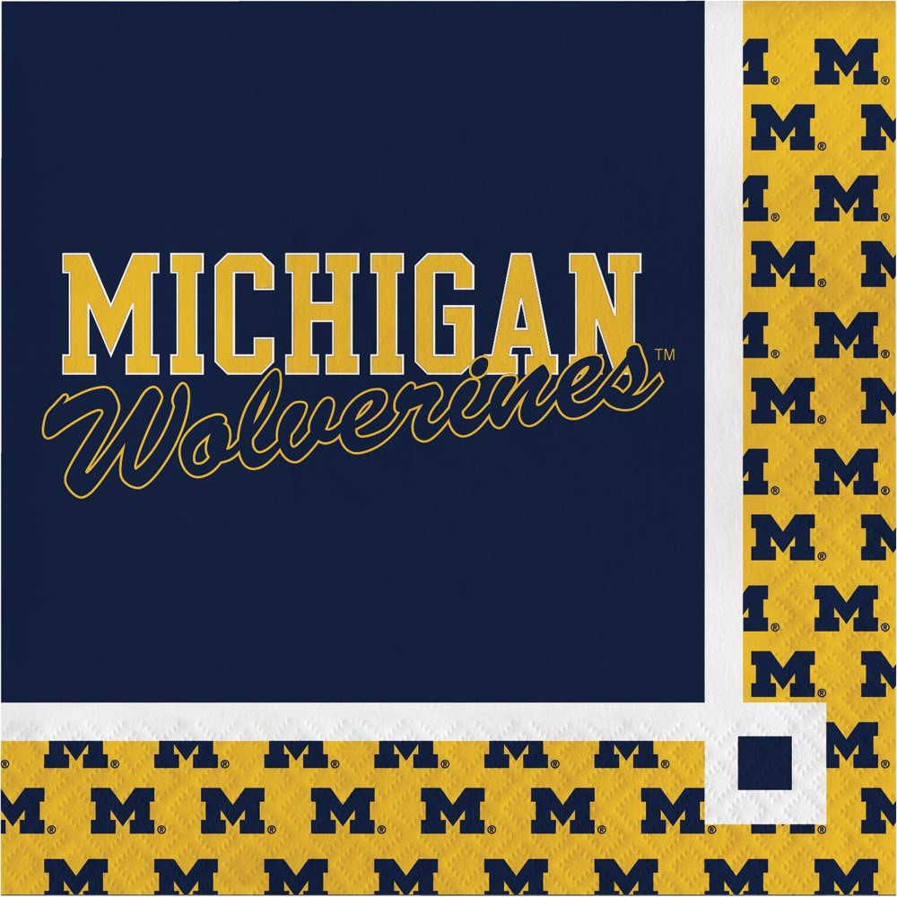 Image of 20ct Michigan Wolverines Beverage Napkins