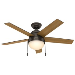 "46"" Anslee Premier Bronze Ceiling Fan with Light - Hunter Fan"