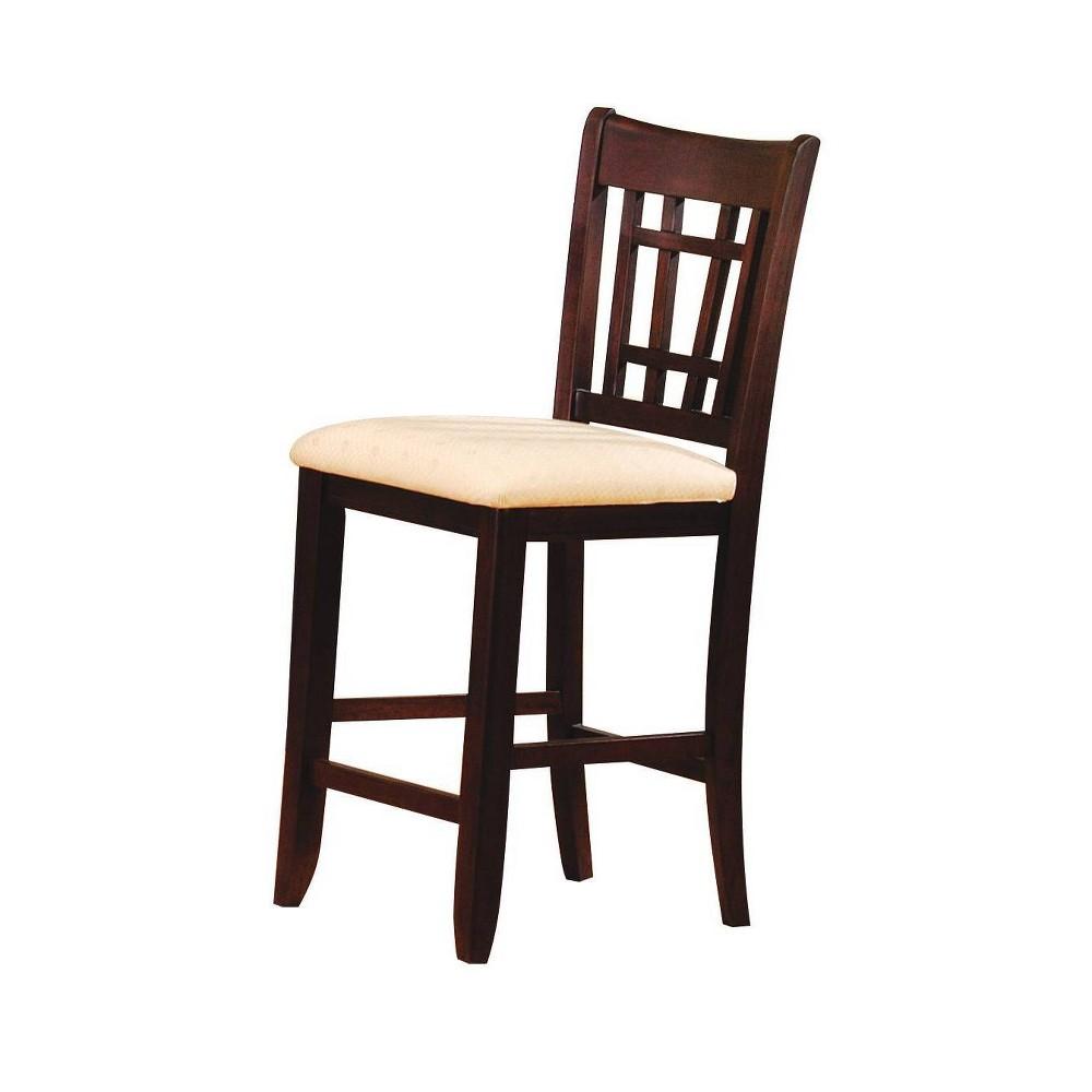 Set of 2 Lugano Bar Chair Fabric Dark Walnut Brown - Acme