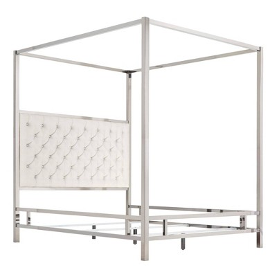 Manhattan Canopy Bed With Diamond Tufted Headboard   Inspire Q by Inspire Q