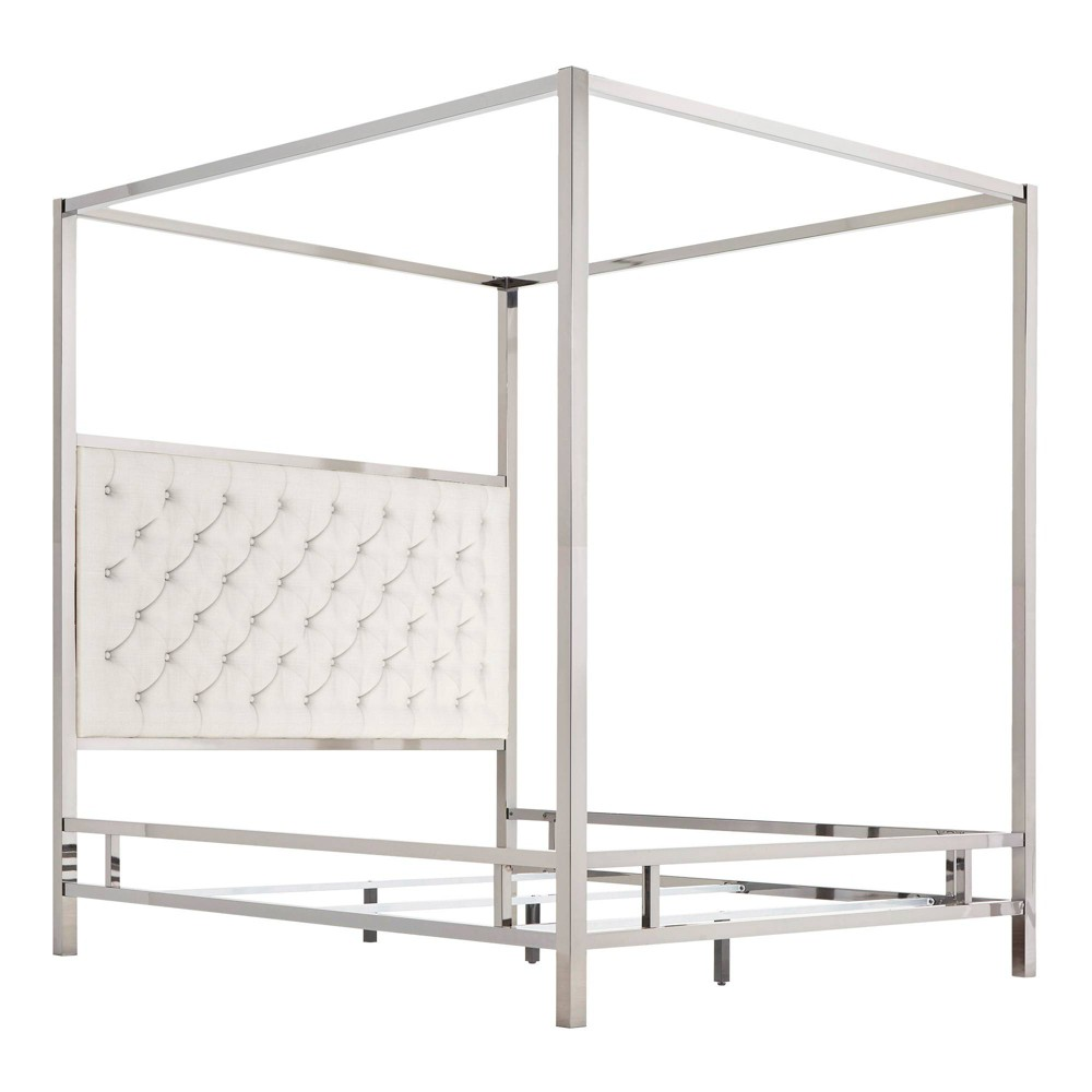 Full Manhattan Canopy Bed with Diamond Tufted Headboard White - Inspire Q