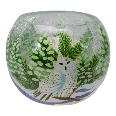 """Northlight 4"""" Hand Painted Owl and Pine Trees Glass Tealight Christmas Candle Holder"""
