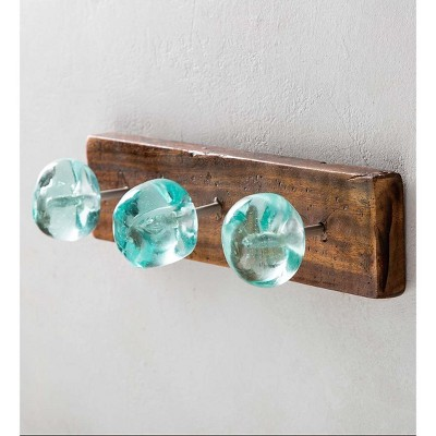 VivaTerra Recycled Glass and Reclaimed Wood Hooks - 3 Hook