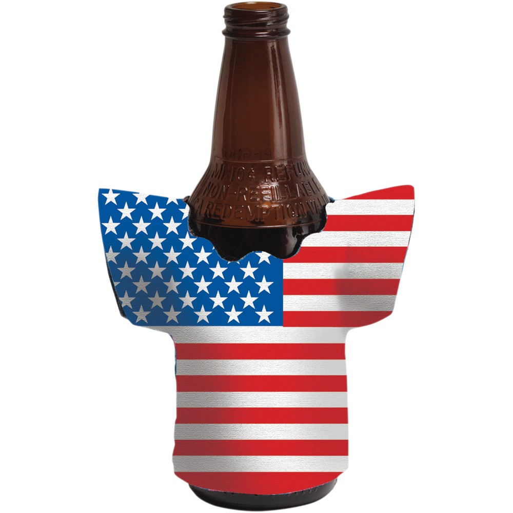 Flag Shaped Drink Holders Party like a patriot with the Flag Shaped Patriotic Drink Holder. One thermal drink holder shows your patriotism while keeping your drink cool. Sold individually, this cup decoration fits a standard drink bottle or can. Color: Multi-Colored. Age Group: Adult. Pattern: Flags.