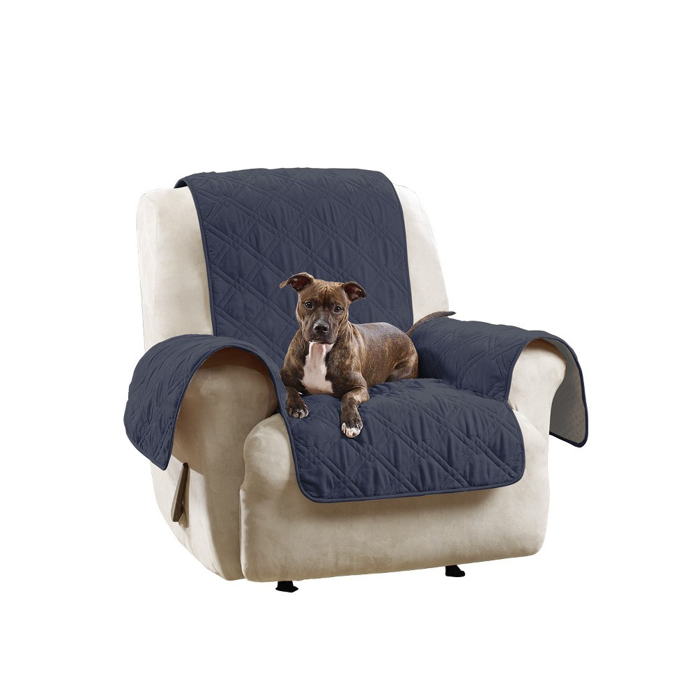 Image of Non-Slip/Waterproof Chair/Recliner Furniture Cover Blue - Sure Fit