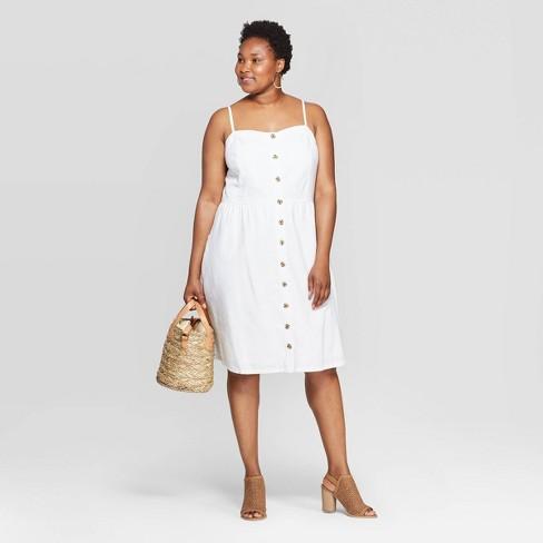 Women\'s Plus Size Sleeveless Square Neck Button-Front Dress - Universal  Thread™