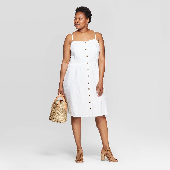Women's Plus Size Sleeveless Square Neck Button-Front Dress - Universal Thread™ - image 1 of 3
