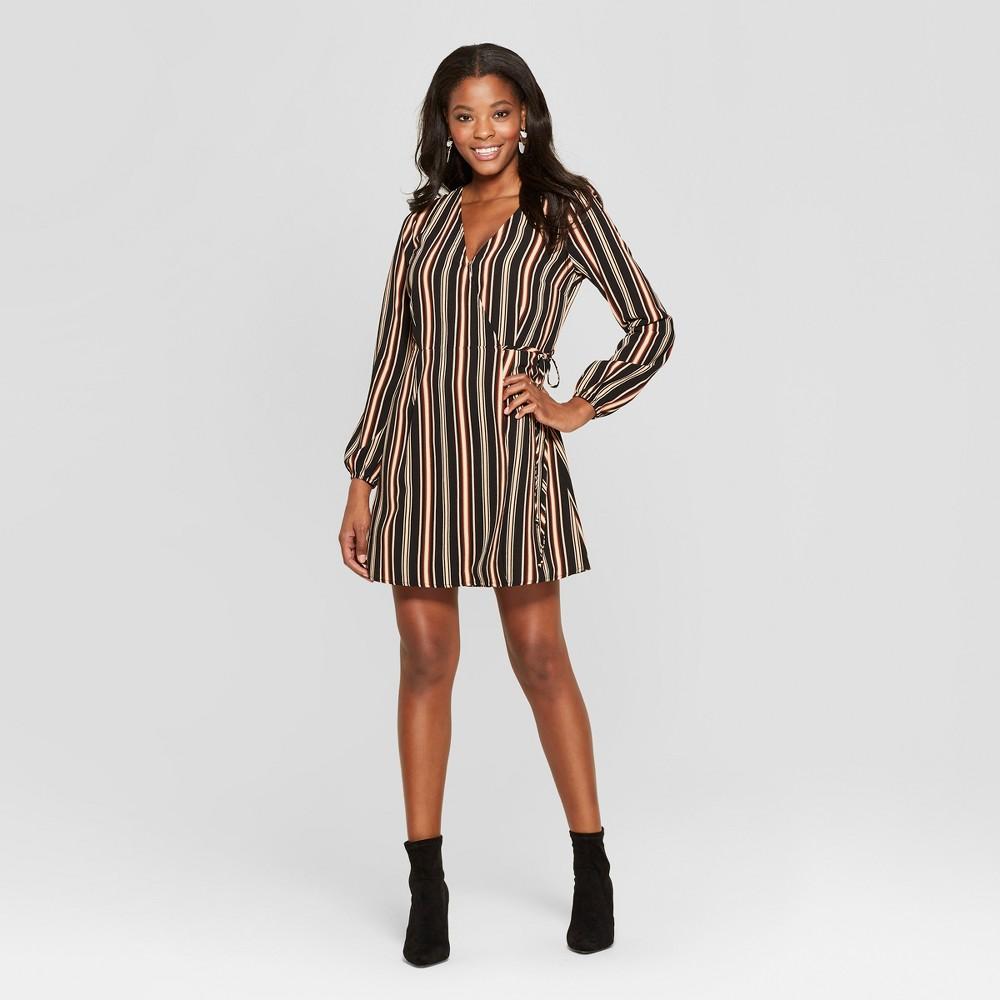 Women's Striped Long Sleeve Wrap Dress - Xhilaration Black/Coral L