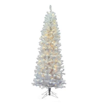 5.5ft Pre-Lit White Salem Pencil Pine Artificial Tree LED Warm White - Vickerman