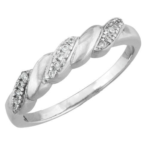 Silver Plated Cubic Zirconia Thin Twist Band Ring - Size 6 - image 1 of 1