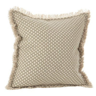 """Beige Corinth Moroccan Tile Design Throw Pillow (20"""")- Saro Lifestyle"""
