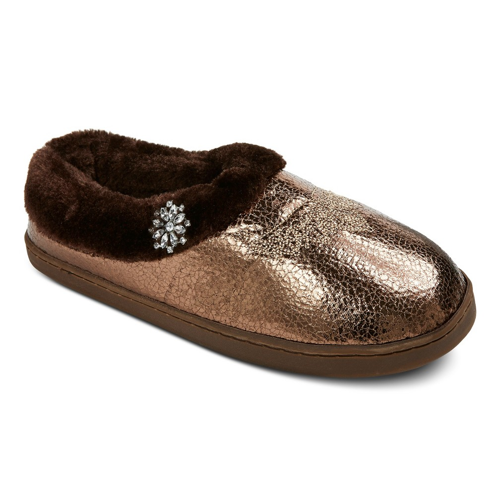 Women's Pretty You London Moccasin Slippers - Gold M(7-8)