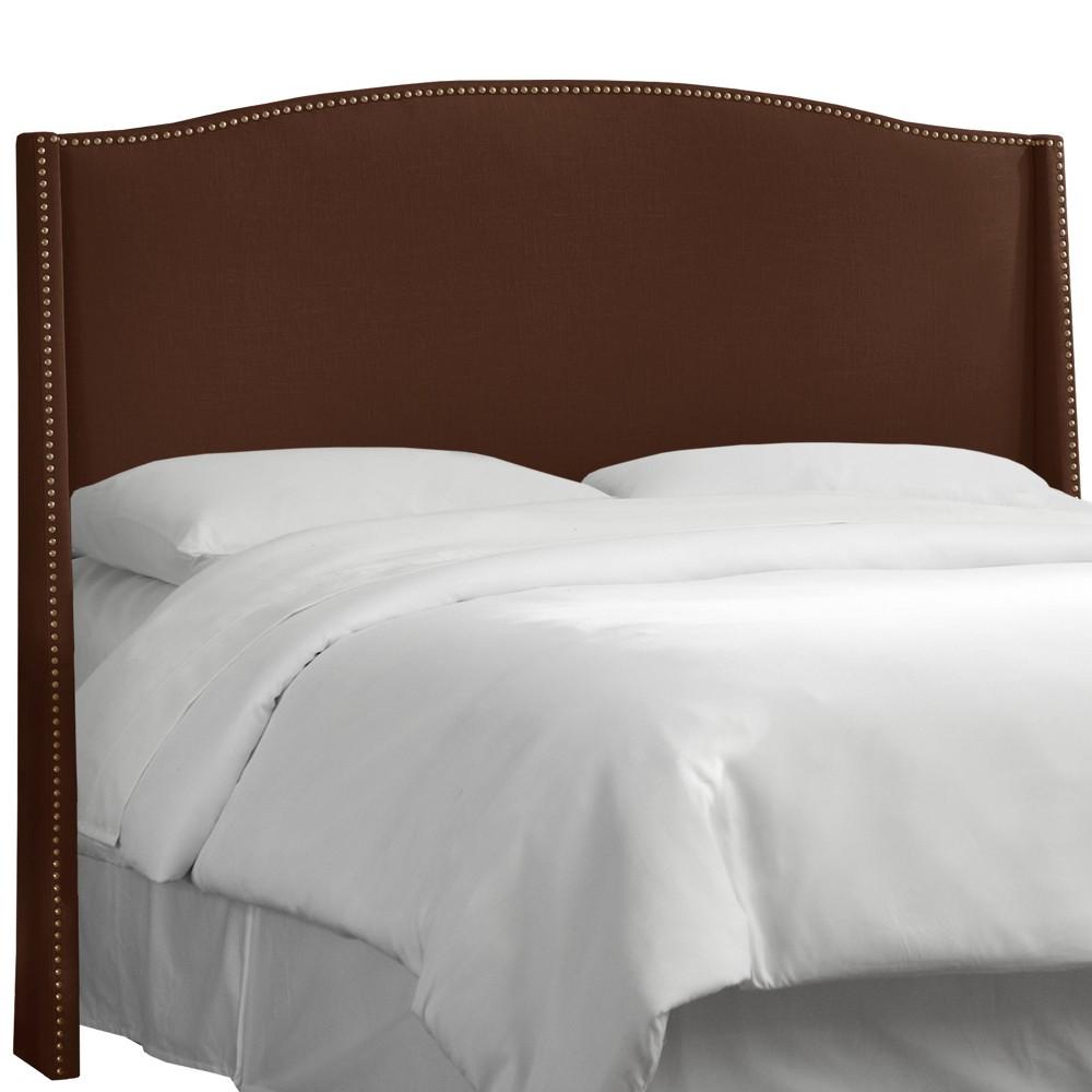 Queen Palermo Nailbutton Wingback Linen Headboard Brown - Skyline Furniture