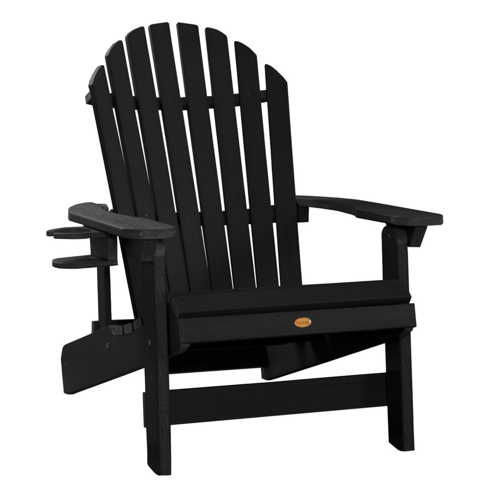 King Hamilton Folding & Reclining Adirondack Chair with Easy-Add Cup Holder Black - Highwood