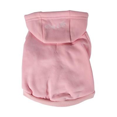 Pet Life Fashion Plush Cotton Dog and Cat Hoodie - Pink