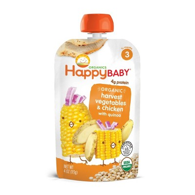 HappyBaby Organic Harvest Vegetables & Chicken with Quinoa Baby Food Pouch - 4oz