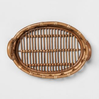 "16.7"" x 12.2"" Decorative Rattan Tray Brown - Opalhouse™"