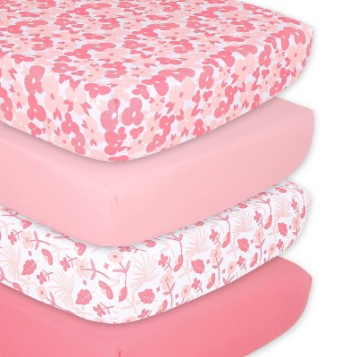 The Peanutshell Fitted Sheets - Floral Punch - 4pk