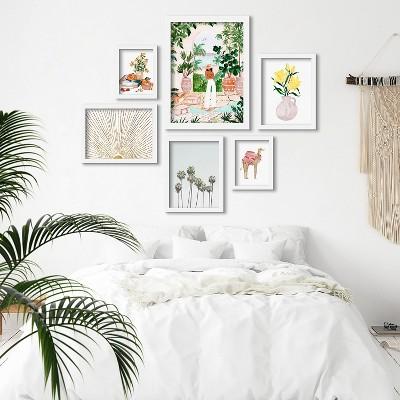 Americanflat Watercolor Floral Botanical Camel by Sabina Fenn 6 Piece Framed Gallery Wall Art Set