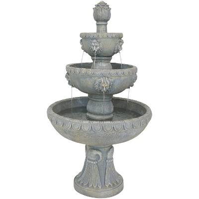 """53"""" Lion Head 4-Tier Outdoor Garden Water Fountain - Sunnydaze Decor"""