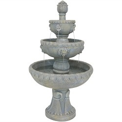 "53"" Lion Head 4-Tier Outdoor Garden Water Fountain - Sunnydaze Decor"