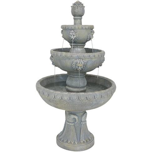 """53"""" Lion Head 4-Tier Outdoor Garden Water Fountain - Sunnydaze Decor - image 1 of 4"""