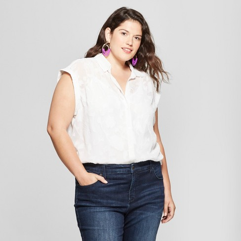 fe794515 Image result for Women's Plus Size Floral Print Button-Down Short Sleeve  Shirt - Ava ...