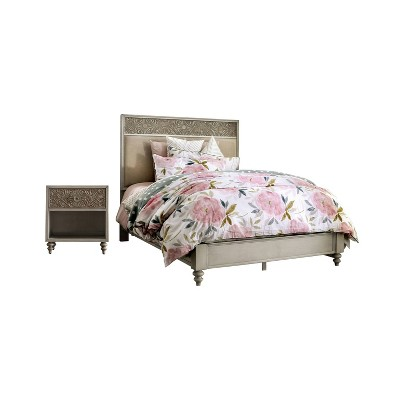 2pc Del Grande Bedroom Set with Nightstand Antique White/Beige - HOMES: Inside + Out