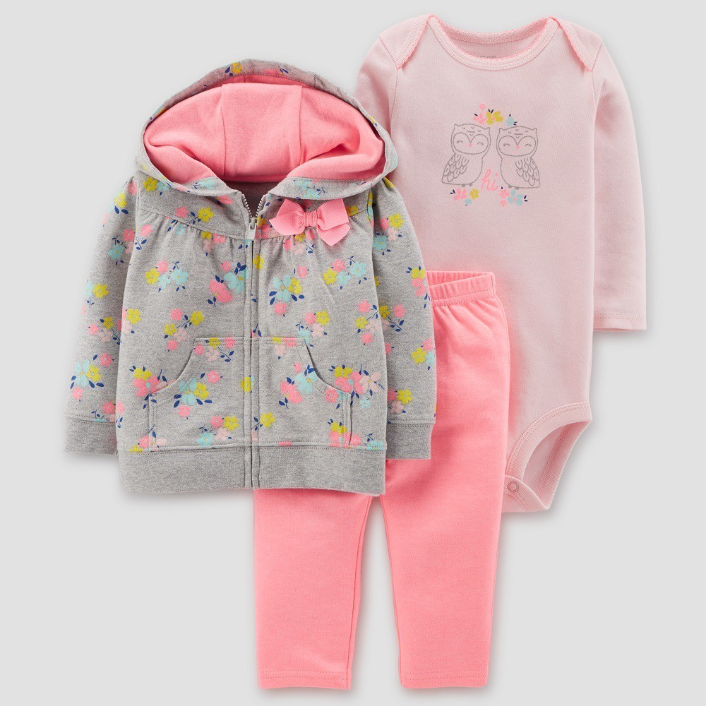Baby Girls' Floral 3pc Set - Just One You made by carter's Gray/Pink 9M