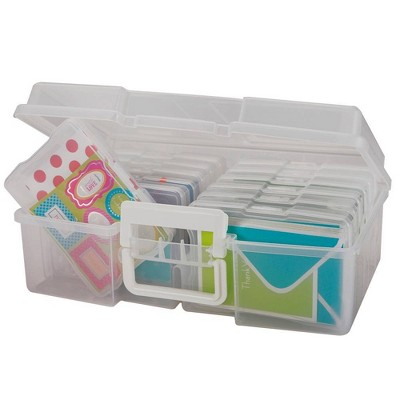 IRIS 2pk Photo Storage Box and Craft Organizer Clear